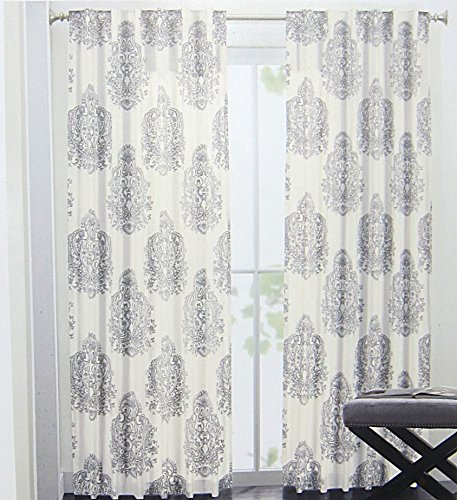 Nicole Miller Medallion Pair of Curtains in Grey Cream Ash Gray ...