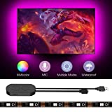 TV Backlight LED Strip Lights - Lumary 6.56FT RGB LED Strip USB Powered Music Sync for 24 Inch-60 Inch TV Multi DIY Color Waterproof Built-in Microphone (Color: Black)