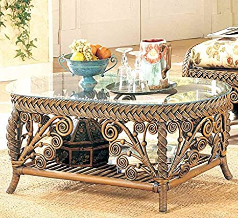 Wicker Coffee Table with Glass Top (White)