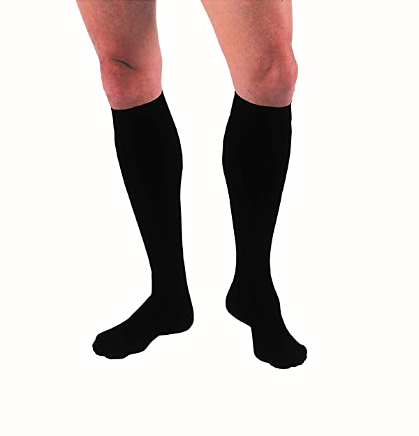 JOBST for Men Knee High Closed Toe Compression Stockings, High Quality, Extra Firm Legware for All Day Comfort for Males, with Odor Control Technology, Compression Class- 15-20 (Color: Black, Tamaño: Medium)