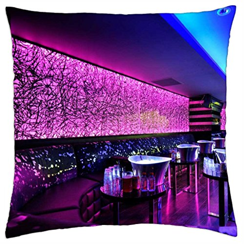 wonderful neon lights in a night club lounge - Throw Pillow Cover Case (18