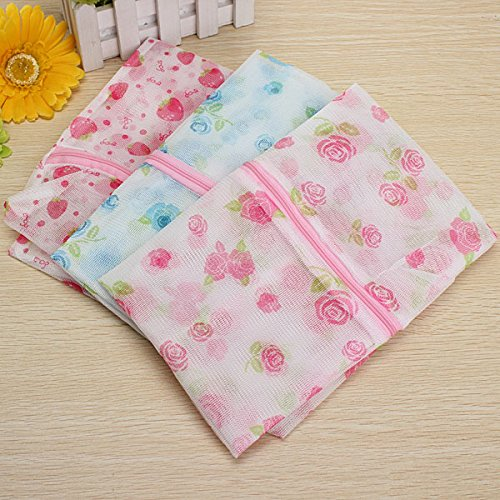 Floral Print Zip Up Mesh Clothes Protective Washing Laundry Bag front-225441