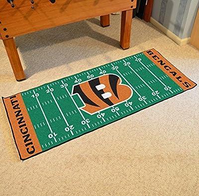 """Fan Mats 7348 NFL - Cincinnati Bengals 30"""" x 72"""" Football Field-Shaped Runner Rug Mat"""