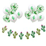 MEYSIMOON Cactus Party Decorations Cactus Banner and 12pcs Latex Confetti Balloons for Fiesta Luau Summer Hawaii Party