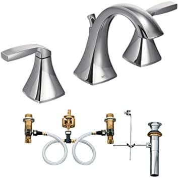 Moen T6905-9000 Voss Two-Handle High Arc Bathroom Faucet with Valve, Chrome