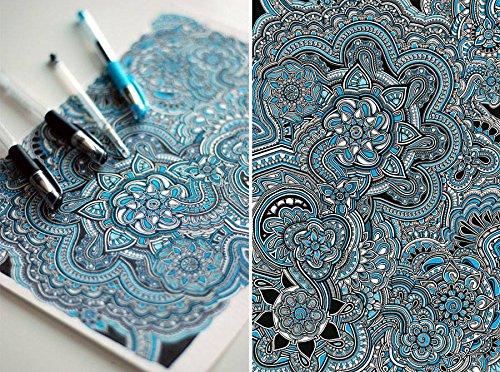 Premium Quality Gel Pens Set - 24 Gel Pens - Glitter, Pastel, Neon, Black, White & More! - Bonus Stencil & Digital Coloring Art Book