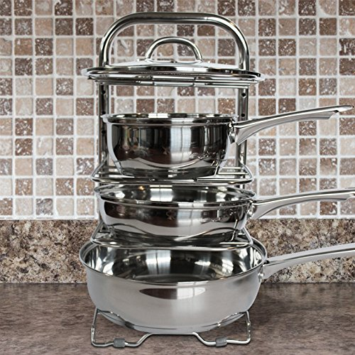 BTH Height Adjustable Pot Pan Organizer Rack 5-Tier: 10, 11 & 12 Inch Heavy Duty Kitchenware Cookware Rack Holder Kitchen Cabinet Countertop Stainless Steel Storage Solution