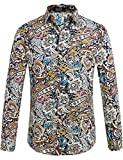 SSLR Men's Floral Button Down Long Sleeve Shirt (XX-Large, Blue Red)