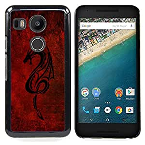 Omega Covers - Snap on Hard Back Case Cover Shell FOR LG GOOGLE NEXUS 5X - Red Tribal Dragon