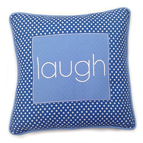 One Grace Place Simplicity Blue Decorative Pillow Laugh, Blue, Light Blue, White