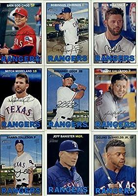 2016 Topps Heritage Texas Rangers Team Set of 14 Cards: Shin-Soo Choo(#8), Robinson Chirinos(#56), Nick Martinez(#65), Mitch Moreland(#93), Rougned Odor(#108), Yovani Gallardo(#158), Shawn Tolleson(#199), Jeff Banister(#279), Delino DeShields Jr.(#314), C