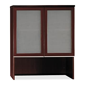 Bush Bookcase Hutch with Glass Doors, 35-3/4-Inch by 15-3/8-Inch by 43-1/8-Inch, Henna Cherry