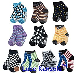 Lace Kenzola Happy Toddler Quarter Socks Set Anti-slip 2T 3T Stripes