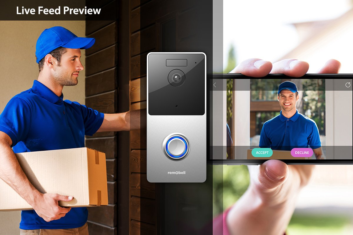 RemoBell WiFi Wireless Video Doorbell (Battery Powered, Night Vision, 2-Way Audio, HD Video, Motion Sensor, Door Camera)