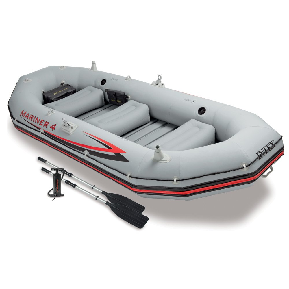 Intex Mariner 4, 4-person inflatable Boat Set With Aluminum Oars And a High Output Air Pump