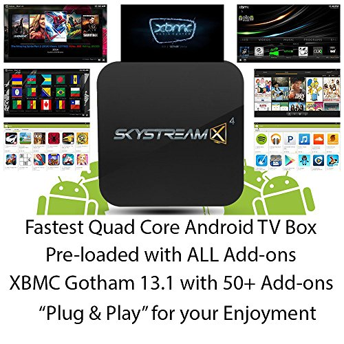 2014 Skystreamx 4 Quad Core Android Smart Tv Box With Remote - Android 4.4 & Gotham 13.1 Xbmc Addons Preloaded - Streaming Internet Media Player