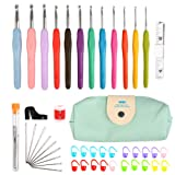 TIMESETL 12 Pcs Crochet Hooks Set, 2mm-8mm Ergonomic Soft Grip Handles Yarn Knitting Needles Kit with Zipper Case for Arthritic Hands, Extra Longâ?¯ Knit Needles and Other Accessories for Women