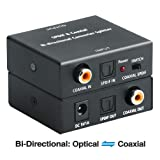 Optical to Coaxial OR Coax to Optical Digital Audio Converter, Bi-Directional Digital SPDIF Toslink Optical to/from Coaxial Digital Audio Signal Adapter/Repeater by ROOFULL (Color: Bi-Directioanl: Optical to Coaxial or Coaxial to Optical)