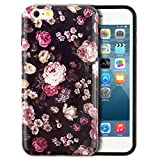 iPhone 6 Plus Case, Dimaka Cute Floral Pattern Prime Inked Print Hybrid 2 in 1 Protective Candy Shell with Safe Rubber and Perfect Retro Girly Hardcover for iPhone 6 / 6S Plus (Peony Flower)