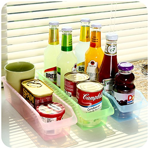 Honla Slim Clear Plastic Storage Bins Organizer-Set of 3-Small Trays for Kitchen Cabinet/Bathroom Closet/Pantry Shelf/Drawer Organization-Pink,Lime Green,Light Blue (Slim Refrigerators With Freezer compare prices)
