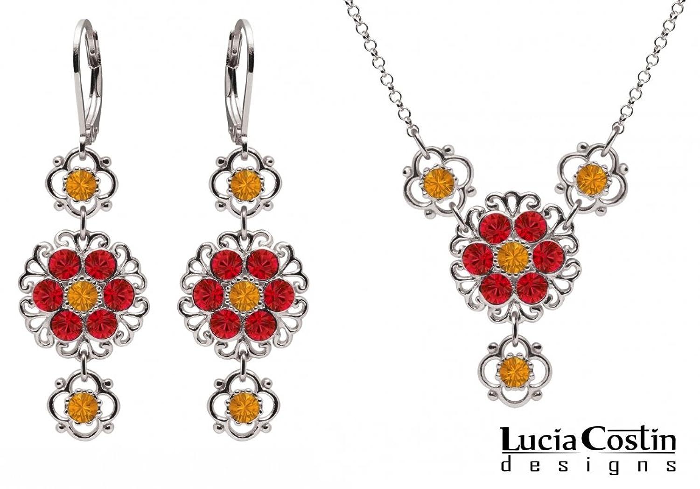 Lucia Costin – Schmuckset: Halskette und Ohrringe – Damen – 925 Silber – Mit reizenden Blumen und Spitze-Elementen, Geschmückt mit Gelben und Roten Swarovski Kristallen – Handgefertigt in den USA jetzt kaufen