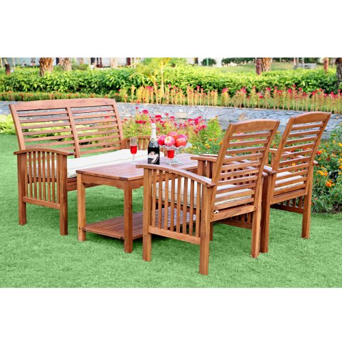 WE Furniture 4-Piece Acacia Wood Conversation Set with Cushions
