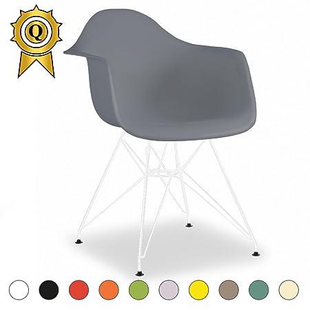 Promo 2x silla Inspiration Eiffel patas de acero color blanco asiento MOBISTYL® darw-m-2