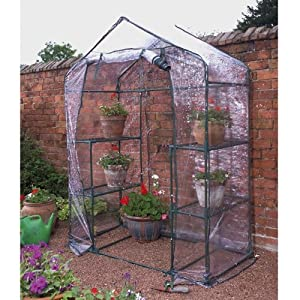GARDEN/OUTDOOR WALK IN GREENHOUSE WITH 4 PLANT SHELVES