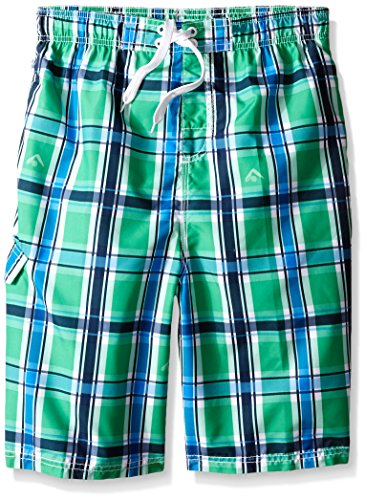 Kanu Surf Big Boys Paradigm Plaid Swim Trunks Green 8