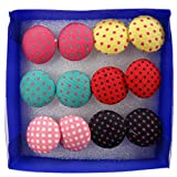Wholesale 6 Pairs Mixed Colours Cloth Button Plastic Ear Pin Piercing Stud Earrings Boho Style Dots