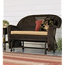 Prospect Hill Handwoven Resin Wicker Outdoor Love Seat Glider in Chocolate