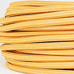 Textilkabel für Lampe, Textilummanteltes Rundkabel, dreiadrig 3x0,75mm², Gold