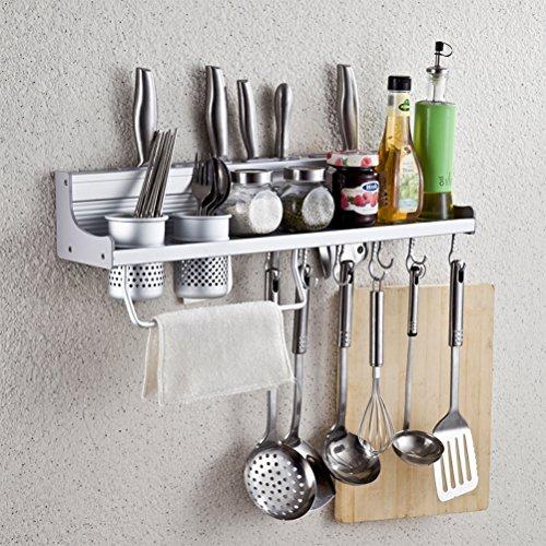 Wall Mounted Kitchen Spice Rack w/ Utensil / Pot / Pan Hanger Hooks, Silverware Caddy, Knife Slots (60cm-2 cups)