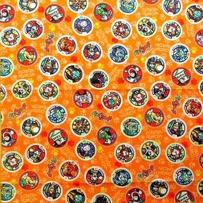 <キャラクター・ランチクロス>妖怪ウォッチ#5(オレンジ/メダル柄大判サイズ)<給食なふきん・ランチョンマット>