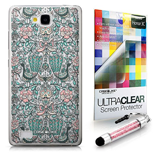 CASEiLIKE Roses ornamentali Skulls Peacocks 2226 Ultra Sottile paraurti custodia for Huawei Honor 3C +Protector de Pantalla+Penne stilo di cristallo (colore casuale)