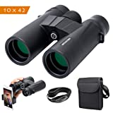 Artilection 10x42 Binoculars for Adults, HD Professional High Power Magnification Compact Wide Angle Binocular for Bird Watching, Hunting, Travel, FMC Lens with BAK4 Roof Prism (Color: HS1042)