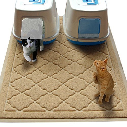 Easyology Jumbo Size Cat Litter Mat, 47 by 36 Inch, Beige