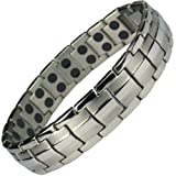 IonTopia Hermes Titanium Magnetic Therapy Bracelet Silver Tone with Free Links Removal Tool