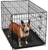 """OxGord® Dog Crate for Pet Animals Home 36"""" Heavy Duty Metal Wires Ultimate Auto Car SUV Portable Travel Accessory Kennel Cage Training House with Double Doors FREE Divider & ABS Plastic Removable Tray (Black) Fold & Carry w/Handle - Newly Designed 2016 Model - XL/Extra Large: 36"""" x 22"""" x 25"""