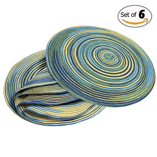 DOZZZ Placemats Set of 6 Braided Woven Placemats Easy to Clean Kid Placemats with Space Dye 15'' Round Placemats for Dining Table/ Kitchen/ Home, Blue (Space Placemat compare prices)