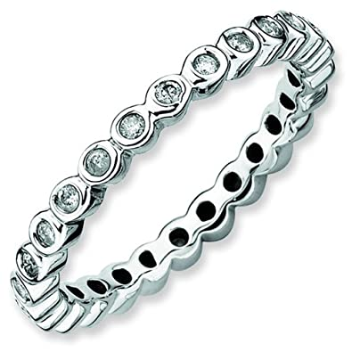 Stackable Expressions Size 7 - Diamond 2.5mm Bezel Set Eternity Band Sterling Silver Stackable Ring UK Ring Size - N