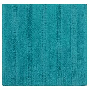 Homescapes Handloomed Teal Square Solid Striped Rug 100