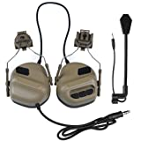 DETECH Tactical Helmet Headset Headphone Electronic Shooting Ear Protection Sound Amplification Noise Reduction Ear Muffs Hunting Shooting Ear Defender with Detachable Microphone (Color: tan)