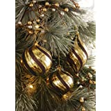 Gold   Chocolate Brown Glitter Swirl Christmas Ornaments By Collections Etc