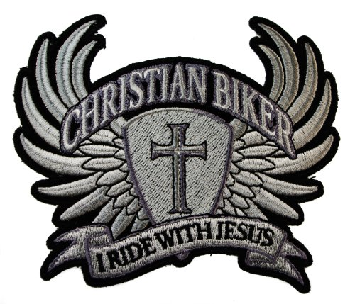 I Ride with Jesus Christian Biker Wings Cross Motorcycle Rider Iron on Patch D33