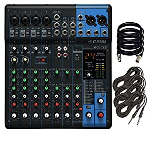 Yamaha MG10XU 10-Input Stereo Mixer. W/ 4 XLR and 4 TRS Cables.