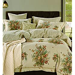 Cottage Roses Peonies Bouquet 3 Piece Duvet Cover Set Multicolored 100-percent Cotton Shabby Chic Style Country Bedding (Queen, Tan/Beige)
