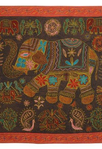 Imagen 1 de Bordado Tradicional Tapiz Tradicional Zari Work-Wall Hanging-Table tiro en tela de algodón Tamaño 36 x 36 pulgadas