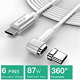 6PIN Magnetic Cable for Macbook Pro, 4.3A 87W Fast Charge USB C to USB C -Apple USB C Charger Power Cable - Samsung S8, Dell XPS, USB C Devices. (6.6FT-WHITE) (Color: White, Tamaño: 3.3 feet)