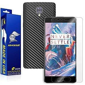 ArmorSuit MilitaryShield® - OnePlus 3 Screen Protector + Black Carbon Fiber Skin Back Protector w/ s - Front Anti-Bubble Ultra HD Shield